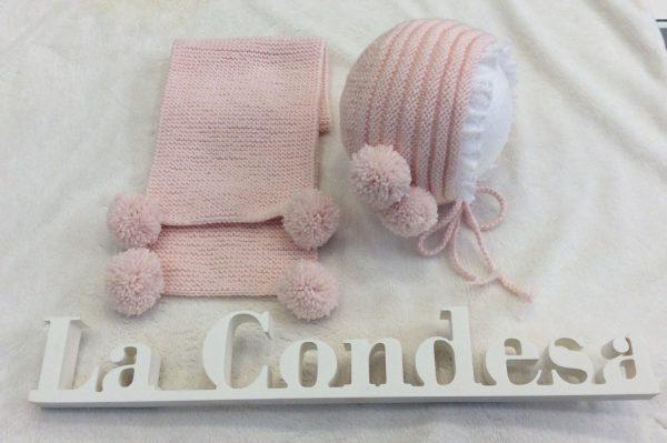 Bufanda dos pompones bebe