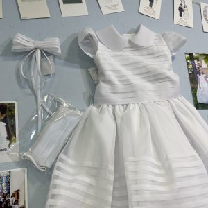 vestido de comunión de manga corta